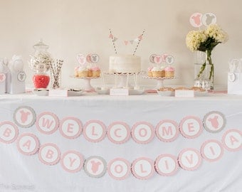 WELCOME BABY Banner (CUSTOM Name) - Pink Baby Shower Decorations -  Girl Baby Shower Decoration - Pink Gray - Choose Character