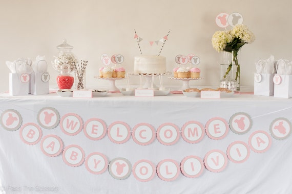 Welcome baby banner custom name pink baby shower for Baby name decoration ideas