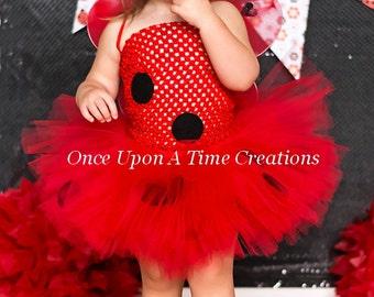 Ready To Ship Little Ladybug Tutu Dress - Newborn 3 6 9 12 18 24 Months 2T 3T 4 5 6 Halloween Birthday Costume - Red & Black Lady Bug