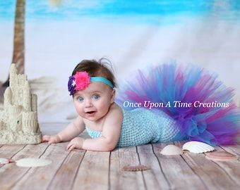 Under Sea Princess Fishtail Tutu Set - Baby Girl Size Newborn 3 6 9 12 Months - Tropical Mermaid Colors - Pink Purple Aqua - Top and Bottom