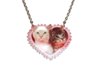 Cute Kitties Necklace, Cat Heart Shape Kawaii Pendant, Laser Cut Perspex