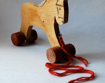Vintage Horse Pull Toy, Primitive, Hand Crafted, Nursery Room Decor