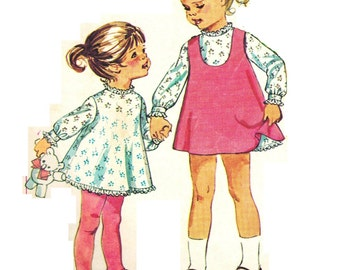 Simplicity 7788 Vintage 60s Adorable Toddler Girls Slip Dress and Jumper Dress Mod Sewing Pattern Size 3