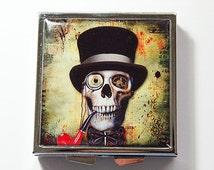 Skull Pill box, Skull pill case, Square Pill box, Pill box, Pill Case, 4 Sections, skull with hat, skeleton, travel pill case (4257)