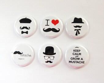 Mustache, I Love Mustaches, mustache magnets, Button magnets, Kitchen Magnet, Fridge Magnet, Black, White, Movember, Stocking Stuffer (3277)