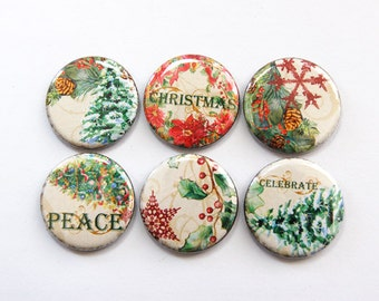 Christmas Magnets, Holiday Magnets, button magnets, Kitchen Magnets, Fridge Magnets, Christmas Tree, magnet set, Stocking Stuffer (3348)