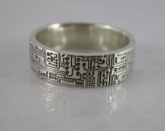 Circuit Board Ring (Sterling Silver, Bronze, Stainless Steel) (Wide-7mm) (Size 4-13)