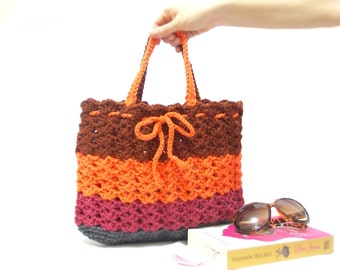 Crochet shoulder tote bag, summer orange striped bag, crochet purse, Spring bag net women bag, mothers day gift