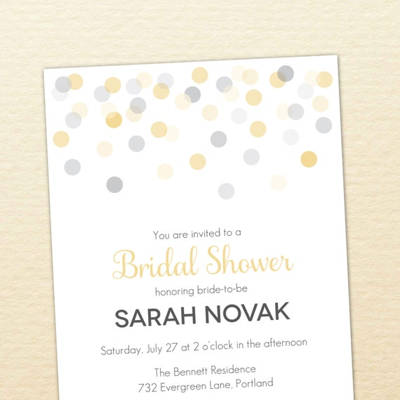 Confetti Printable Bridal Shower Invitation - DIY Wedding Shower Invite - Polka Dots, Gold, Silver