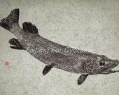 NORTHERN PIKE Gyotaku print - traditional Japanese fish art - by dowaito