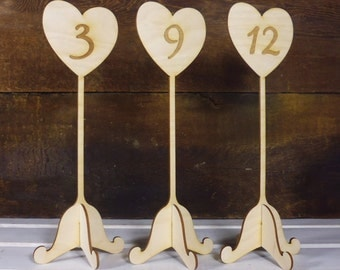 20 Table Number Wedding Signs on Stand Rustic Wedding Table Labels with Holder Included Wooden Engreaved Sturdy Table Numbers
