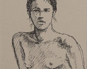 "Life Drawing Figure Study Female Nude ink drawing 5 X 7""  Double Matted 8 X 10"" No.163"