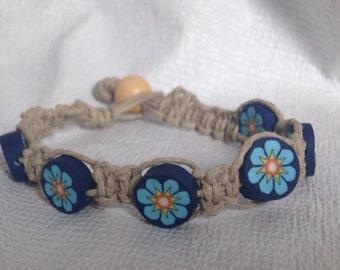 Blue Daisy Hemp Bracelet