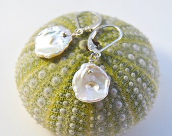 Flat Petal Pearl Earrings .  Bridal Jewelry