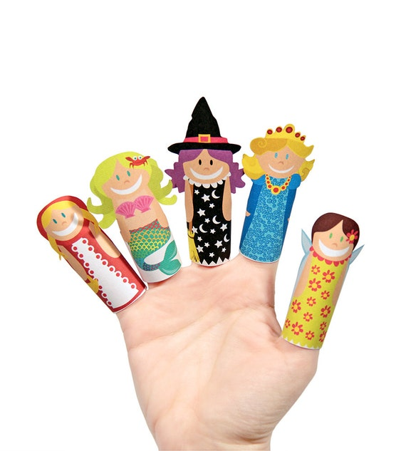 Fantasy Girls Paper Finger Puppets - PRINTABLE PDF Toy - DIY Craft Kit Paper Toy - Birthday Party Favor