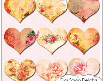 Digital  Collage Sheet, Vintage Hearts, Ephemera Altered , Mixed Media Clip Art for Digital Scrapbook, Clip Art, Instant Download