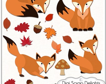 2 Dollar SALE!  What does the Fox Say? Foxes Clip Art for Digital Scrapbooking, Fall Cards, Crafts, Orange, Black,  Autumn