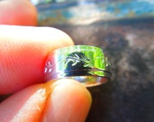 Sterling Silver Ring Wedding Band Wide Engraved Leaf and Vine Size 6