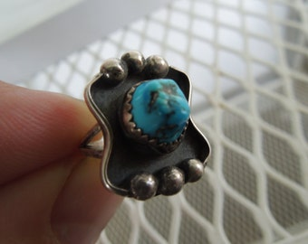 Vintage Sterling Silver Ring Native American Mexican Modernist Inlay Turquoise Size 4 .75 or 4 3/4