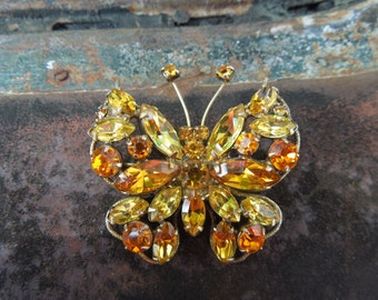 Vintage Regency Butterfly Brooch Pin  Orange and Yellow Rhinestones