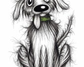 Bingo the dog Print download Ultra cute happy and friendly pet pooch with sticky out tongue and floppy ears Funny doggie picture