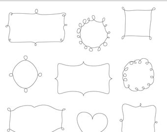 9 Hand Drawn Digital Frames Clipart - For Personal and Commercial Use - INSTANT DOWNLOAD