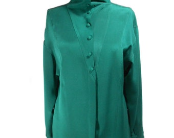 vintage 1980s KRIZIA silk blouse / emerald green / silk jersey / button front / wide collar slouchy neck / women's vintage blouse / size 6