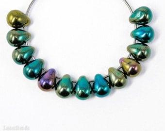 Green Teardrops 7mm (40) Czech Iris Glass, Small Metallic Beads
