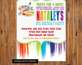 Art Party Invitation - Paint Invitation - Painting Birthday Party Invitation - Dress for a Mess Paint Party - Artist - Rainbow - Item 0125