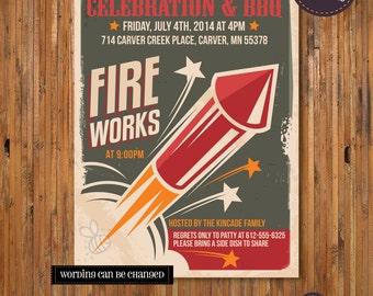 Fourth of July Invitation - Fireworks Invitation - 4th of July Celebration and BBQ - Item JF_0002