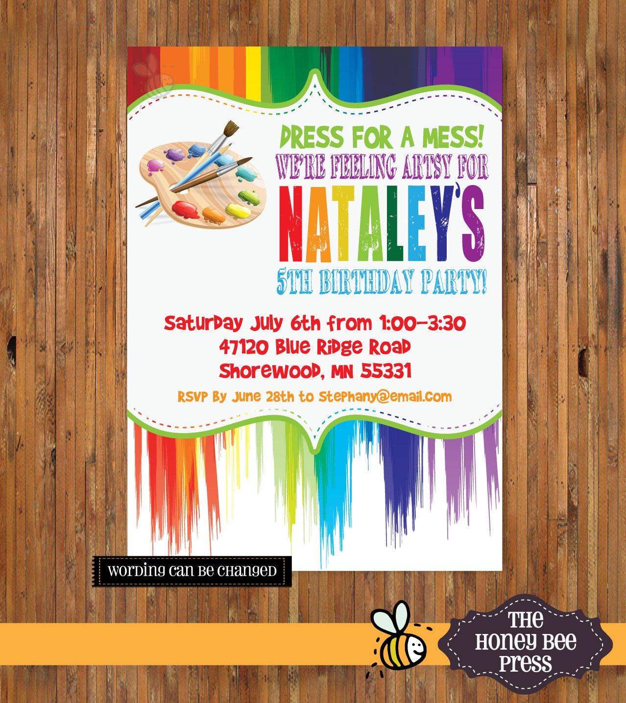 Art Party Invitation Paint Invitation Painting Birthday – Artist Party Invitations