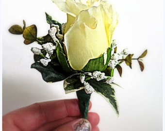 Faux Wedding Boutonniere - Anniversary Boutonniere - Prom Boutonniere - Father's Day Boutonniere - Pale Yellow Rose w/ White Filler