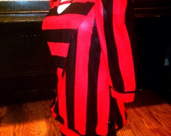 Unique vintage mod red and black striped polyester dress tunic