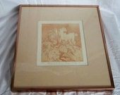 Unicorn Print Framed Numbered 13 of 150 Dated Signed by Colorado Artist Carolyn H. Evridge Copper Rose Color Metal Frame Ready to Hang