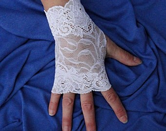 White Lace Fingerless Gloves  - Short Stretch Lace Gloves