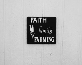 Faith Family Farming Sign Wood Hand Painted