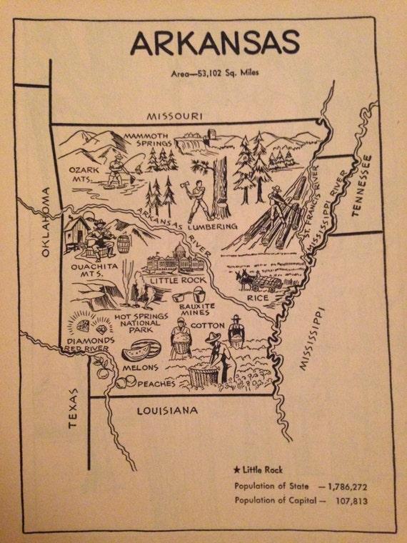 Arkansas Map Print / Vintage Map Artwork / Kids Room by ...