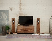 Small Walnut Media Cabinet - Patchwork Walnut - AVAILABLE NOW!