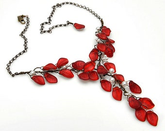 Red Statement Necklace, Red Y Necklace, Red Leaf Necklace, Red Floral Nature Jewelry, Bridal Necklace, Wedding Jewelry, CPJ N375