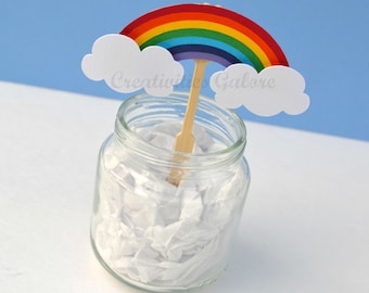 Rainbow Cupcake Toppers (Set of 12)