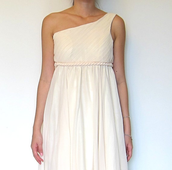 Grecian One Shoulder Flowy Dress In Pink And Ivory Wedding