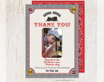 Train THANK YOU Photo Card, Personalized, Railroad, Choo Choo Train Thank You, DIY Printable, Train Birthday Party, Custom Text, Two Sides