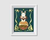 animal art, animal portrait, whimsical art, vintage tattoo art print, bull terrier, cute dog illustration, vintage illustration art, blue