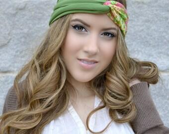 Floral green Head Wrap,  Boho Hippie Head wrap