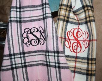 Monogram Cashmere Feel Plaid Scarves, Monogram Plaid Scarfs, Personalized Scarves, Personalized Monogram Scarf, Cashmere Feel Scarves