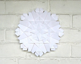 White Wall Sculpture - Origami Paper Wreath - Geometric Crystal Art - Modern Home Decor - Recycled Paper Sculpture - Paper Anniversary