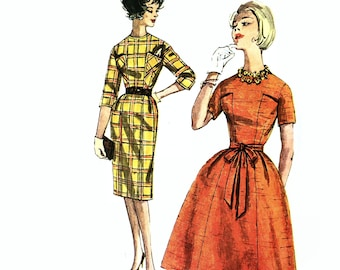 Simplicity 3642 Softly Pleated Dress Full Skirted or Wiggle Sheath Dress 1960's Sewing Pattern Bust 36