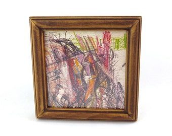 """Abstract Art Print in Vintage Wood Frame 6"""" x 6"""""""