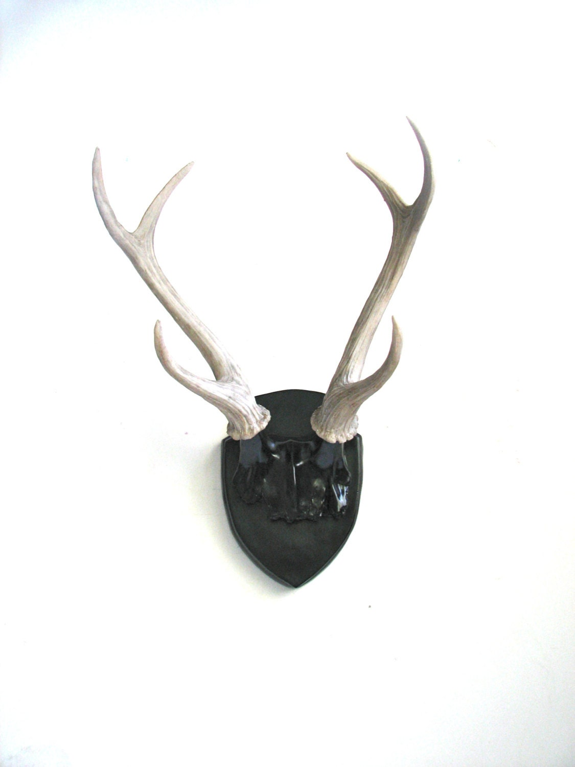 BLACK Faux Antlers Plaque Wall Hanging Rustic Modern Wall