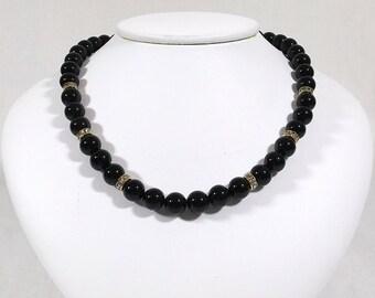 Black Glass and Rhinestone Necklace